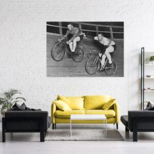 Cuadro ciclistas antigua