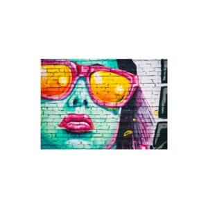 Cuadro graffiti colorido rostro