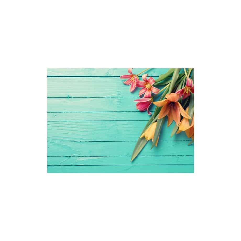 Cuadro para sala flores azul