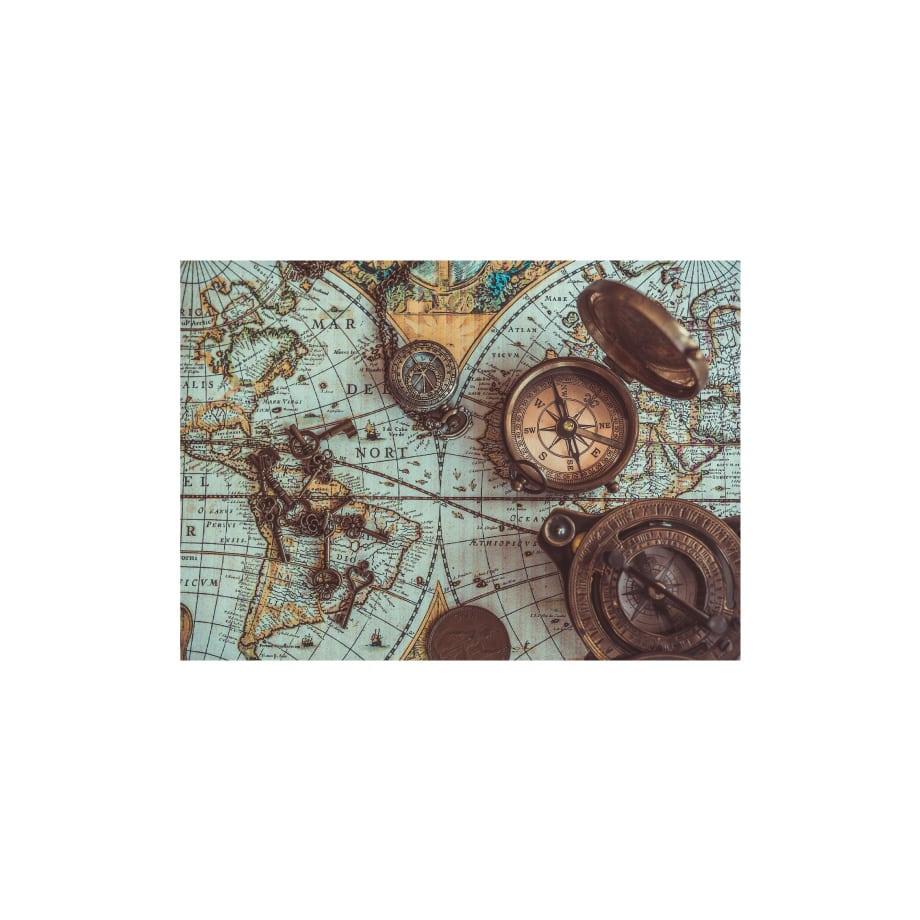 Cuadro decorativo mapa brújula antigua