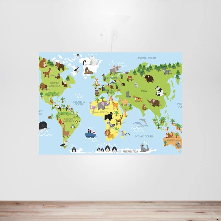 Cuadro mapamundi infantil