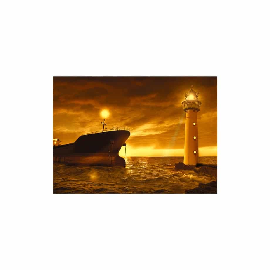 Cuadro paisaje barco y faro